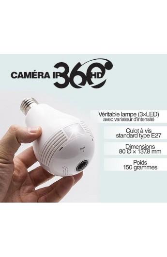 Ampoule Caméra Espion Wi-Fi Panoramic 360° avec Détection de Mouvement